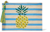 Kayu Pineapple Striped Woven Straw Pouch - Blue