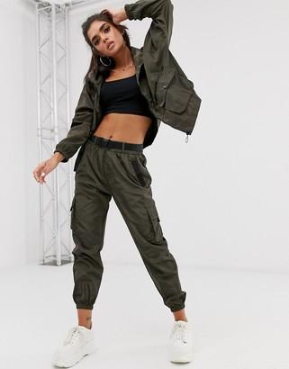 Qed London elasticated cuff cargo trousers in khaki