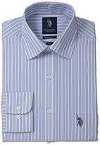 U.S. Polo Assn. Men's Shadow Stripe Semi Spread Collar Dress Shirt