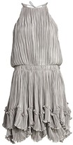 Halston Metallic Pleated Dress
