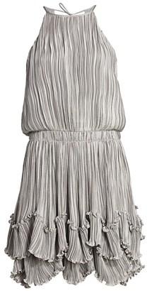 Halston Metallic Pleated Dress