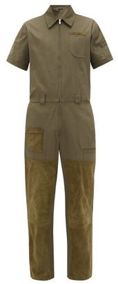 Fendi Suede-patch Cotton Overalls - Mens - Green