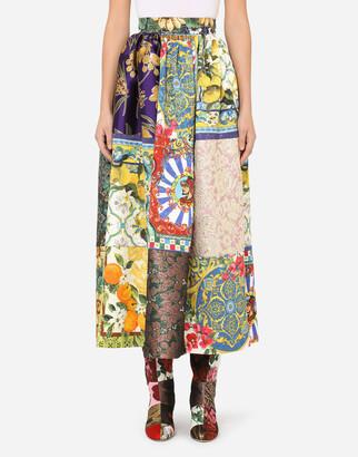 Dolce & Gabbana Long Patchwork Jacquard Skirt