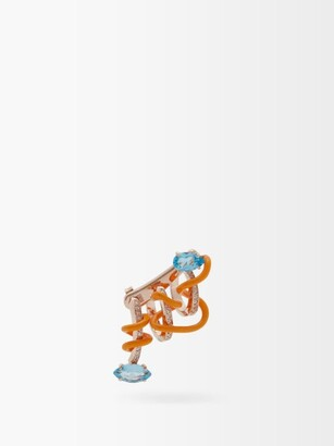 BEA BONGIASCA Crawler Diamond, Topaz & Rose-gold Ear Cuff - Orange Multi