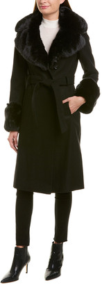 French Connection Long Wool-Blend Wrap Coat