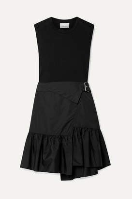 3.1 Phillip Lim Belted Layered Cotton-jersey And Poplin Dress - Black