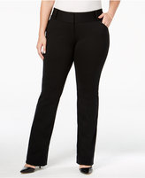 Alfani Plus Size Tummy-Control Faux-Leather Trim Trousers, Only at Macy's