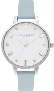 Olivia Burton Women's Chalk Blue Vegan Leather Strap Watch 34mm