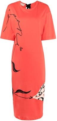 Marni Sketch-Print Midi Dress