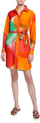 Finley Carter Abstract Apple Shirt Dress w/ Waist Tie
