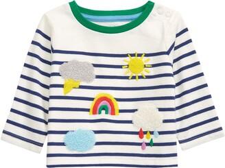 Boden Stripe Applique Long Sleeve T-Shirt