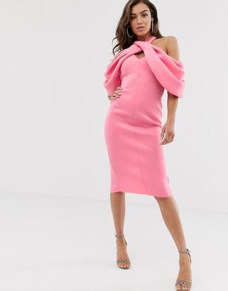 Asos Design DESIGN extreme drape pleated halter midi pencil dress-Pink