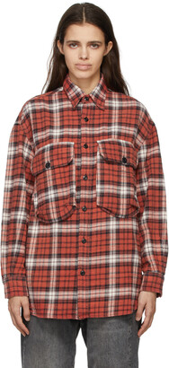 R13 Red Oversized Plaid Shirt