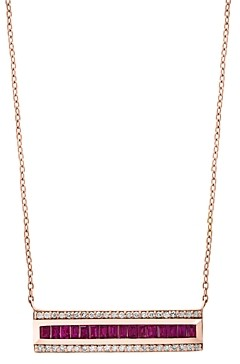 Bloomingdale's Ruby & Diamond Bar Necklace in 14K Rose Gold, 18 - 100% Exclusive