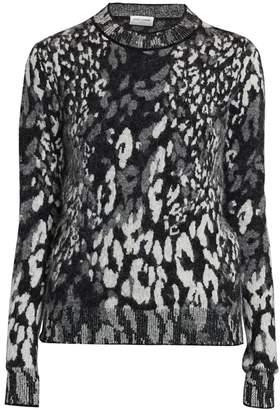 Saint Laurent Leopard-Print Jacquard Sweater