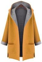 AMZ PLUS Women's Plus Loose Slimming Woolen Hooded Jacket Windbreaker Coat 3XL