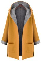 AMZ PLUS Women's Plus Loose Slimming Woolen Hooded Jacket Windbreaker Coat XL