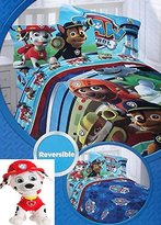 Nickelodeon Paw Patrol Twin Bedding Set with Reversible Comforter, Twin Sheets, and Marshall Stuffed Pillow buddy