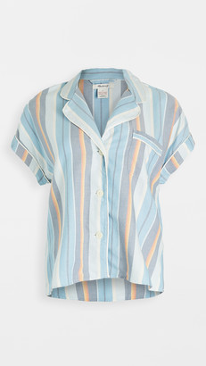 Madewell Bedtime Pajama Top in Solano Stripe: Colorblock Piping Edition