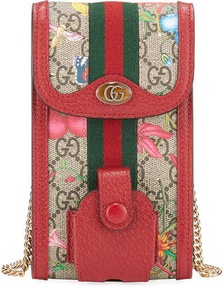 Gucci Ophidia GG Flora Phone Case Crossbody Bag