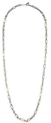 David Yurman Two-Tone Pearl Figaro Chain Necklace