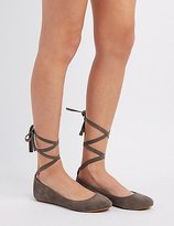Charlotte Russe Bamboo Lace-Up Ballet Flats