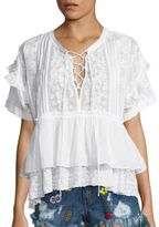 The Kooples Short Sleeve Lace-Up Top