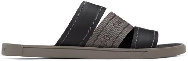 Giorgio Armani Black and Grey Logo Sandals