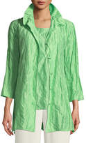 Caroline Rose Ruched-Collar Crinkled Jacket , Petite