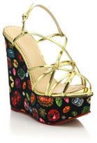 Charlotte Olympia Elizabeth Metallic Leather Jewel-Print Wedge Sandals