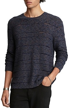 John Varvatos Collection Cotton-Blend Knit Stripe Easy Fit Crewneck Sweater