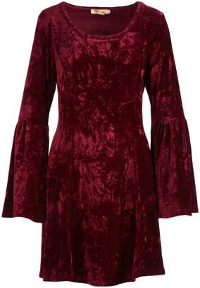 Aryeh Women's Casual Dresses Wine - Wine Velvet Scoop Neck Bell-Sleeve Fit & Flare Dress - Women