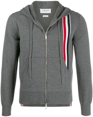 Thom Browne Intarsia-Knit Stripe Panel Hoodie