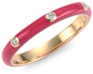 Ef Collection 14K Yellow Gold Three Diamond Enamel Stack Ring