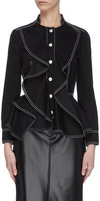 Alexander McQueen Contrast seam ruffle denim jacket