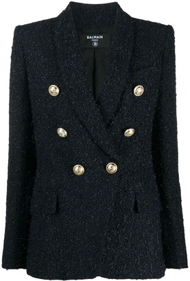 Balmain Textured Double-Breasted Fitted Blazer