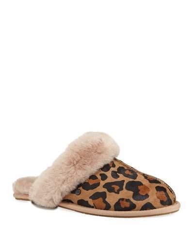 081c2167d20 Scuffette II Leopard Calf-Hair Slippers with Shearling Cuff