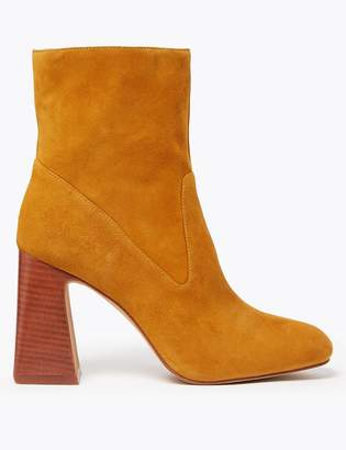 AutographMarks and Spencer Suede Square Toe Flared Heel Ankle Boots