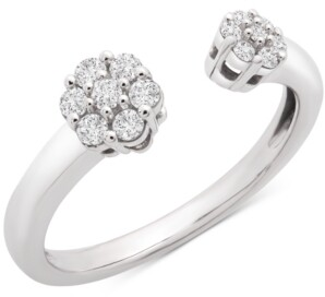Wrapped Diamond Flower Cluster Cuff Ring (1/4 ct. t.w.) in 14k White Gold, Created for Macy's