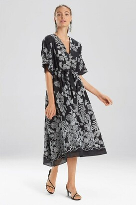 Natori Floral Embroidery Caftan Dress