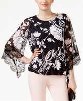 Alfani Petite Printed Lace-Trim Bubble Top, Only at Macy's