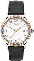 Montblanc 114336 Tradition Automatic Date Alligator Leather Strap Watch, Black/white