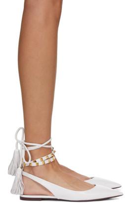 Valentino White Garavani Fringe Ballerina Flats