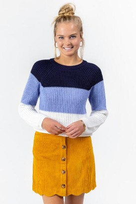 francesca's Joey Color-Block Scallop Sweater - Navy