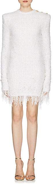 Balmain Women's Fringed Tweed Long-Sleeve Dress - White