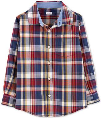 Carter's Carter Little & Big Boys Plaid Button-Front Cotton Shirt