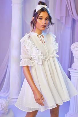 boohoo Dobby Chiffon Tie Front Frill Detail Dress