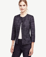 Ann Taylor Crosshatch Tweed Peplum Jacket