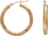 JCPenney FINE JEWELRY 28mm 14K Gold Satin Diamond-Cut Hoop Earrings