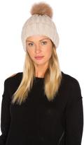 Jocelyn Dyed Blue Fox Pom Knit Hat